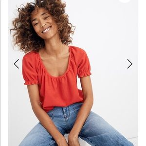 Madewell Texture and thread red peasant top xs new